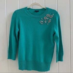 Talbots ¾ Sleeve Rhinestone Embellished Sweater